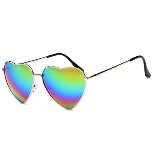 Danse Jupe Retro Heart Sunglasses Thin Metal Frame Lovely Heart Style Eyewear Rainbow