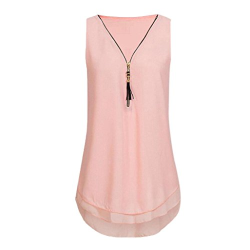 (Women Loose Sleeveless Tops Chiffon Tank V-Neck Zipper Hem Scoop Tshirts)