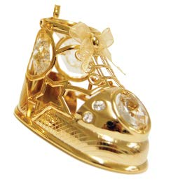 (24k Gold Plated Baby Shoe Ornament w/Clear Swarovski Element)