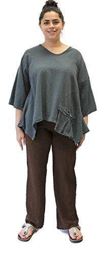 Oh My Gauze Women's Basic Cotton Pant (3 (0X/1X), Mocha)
