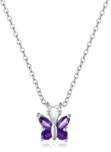 Sterling Silver Butterfly Pendant Necklace 18 inch Dainty Amethyst Jewelry Anniversary Birthday Mother's Gift ()