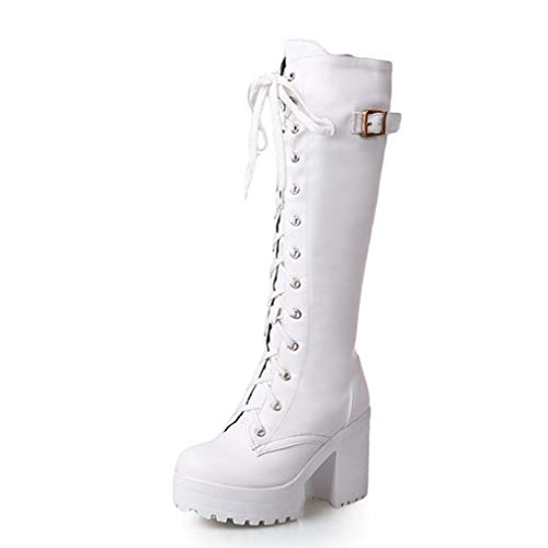 High Heels Round Toe Winter Boots Shoes for Women Riding Knee-high Boots Platform Shoes Cross-Tied White Shoes