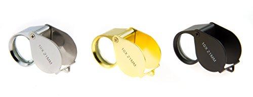 SE MJ381121S 3-Piece Set of 10x 21 mm Black/Gold/Silver Jeweler's Loupes
