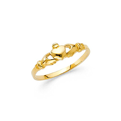Solid 14k Yellow Gold Kids Claddagh Ring Children Band Polished Finish Genuine 5MM Size 2