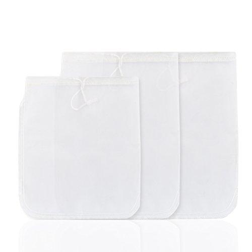 GWHOLE 3 Sizes Reuseable Fine Mesh Nut Milk Bag, 3 Pack ()