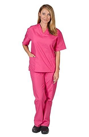 Women's Scrub Set - Medical Scrub Top and Pant, Hot Pink, XX-Small - Hot Pink Scrub Pants