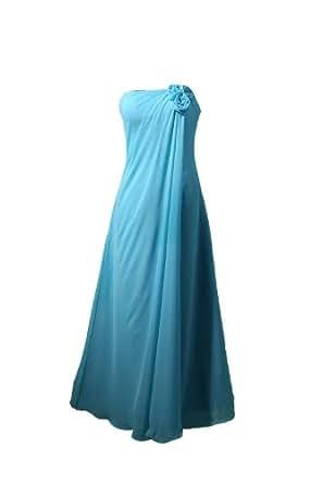 Winey Bridal Chiffon Blue Flower Long Cheap Bridesmaid Dresses (20W)
