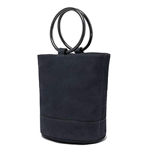 Metal Señoras Mini Bolsa Pulsera gray Blue ayng De Las Moda small En Piel Vaca Primera Bolso Wy Cubo Redonda Maceta Capa Tela Xq8f5w