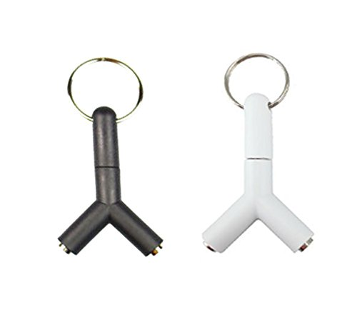 yueton Pack of 2 Y Shaped 3.5mm Jack Stereo Audio Headset Splitter Connector Adapter Keyring Key Ring - Headphone Splitter (Stereo Pack)