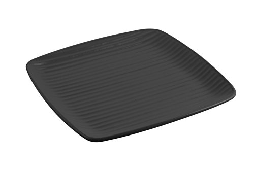"Bon Chef 9919BLK Aluminum Ribbed Platter, 12-1/2"" Length x 12-1/2"" Width, Asian/Fusion, Black (Pack of 2)"