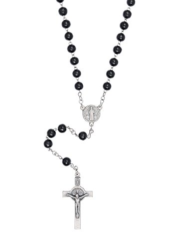 St Benedict Rosary - Stainless Steel Chain with Wood Beads - Made in Brazil (Black 6mm Beads) (Black Stainless Steel Rosary compare prices)