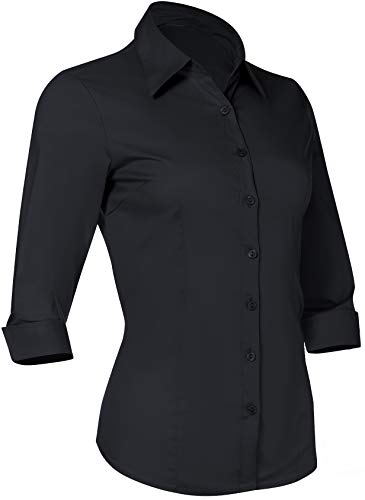 (Button Down Shirts for Women 3 4 Sleeve Fitted Dress Shirt and Blouses Work Top (4XL Plus Size, Black))