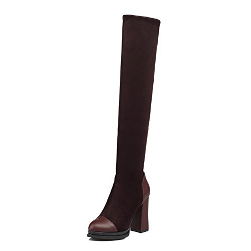 BalaMasa Womens High-Heel Pull-on Solid Above-The-Knee Chunky Heels Urethane Boots ABL09798 Brown RqNw5Xil8K