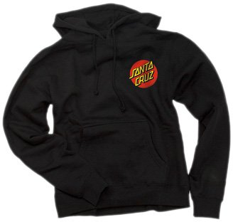 Santa Cruz Skateboards Classic Dot Womens Hooded Pullover Sweatshirt (Large, Black)