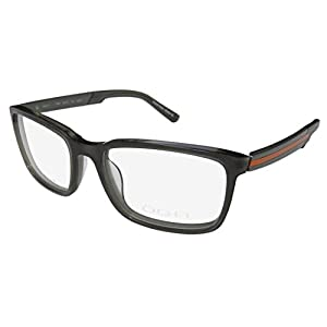 Oga 7769o Mens Designer Full-rim Spring Hinges Eyeglasses/Eyeglass Frame (53-17-140, Greenish Gray/Orange)