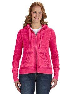 J. America Women's Ladies Zen Full Zip Hooded Sweatshirt, Wildberry, X-Small