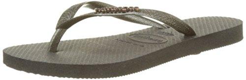 Havaianas Slim Logo Metallic - Black/Gold (Man-Made) Womens Sandals 7/8 - Uk Havaianas