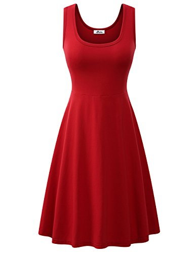 Herou Women Striped Sleeveless Soft Cotton Tank Dress (Dark Red, Large)