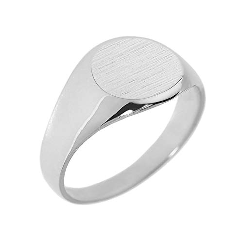 Men's 925 Sterling Silver Engravable Polished Round Top Signet Ring (Size 5.5)