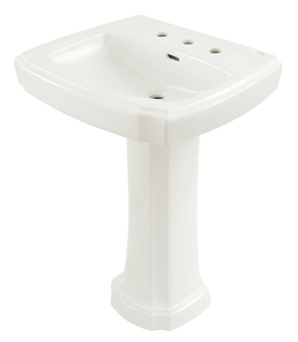 TOTO LPT972.8#01 Guinevere Lavatory and Pedestal with 8-Inch Centers, Cotton White
