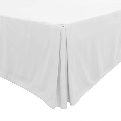 (PiccoCasa Pleated Bed Skirt Classic Tailored Styling Dust Ruffled Hotel Quality, 14 Inch - Full White )