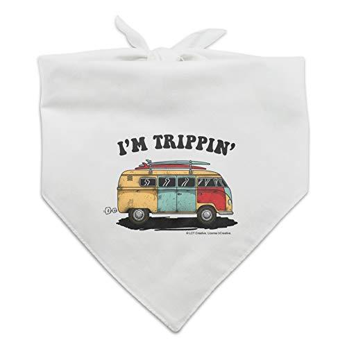 GRAPHICS & MORE I'm Trippin' Retro Van Funny Humor Dog Pet Bandana - White