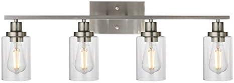 MELUCEE Bathroom Light Fixtures Brushed Nickel 4 Heads Modern Vanity Lights Wall Sconce