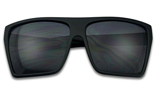(BLACK Oversized Large XL Big Sunglasses Kim Square Flat Aviator Mens Womens Matte Black)