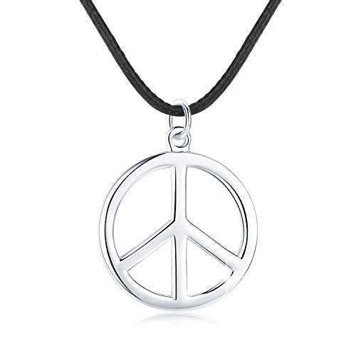 JUSTKIDSTOY Peace Symbol Necklace,S925 Sterling Silver Classic Peace Sign Pendant Necklace with Black Braided Leather Cord Chain for Women Men Hippie Party Accessories