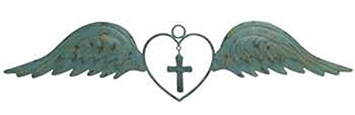 Large Distressed Style Antique Metal Angel Wings with Heart and Cross Home Wall Decor ~ 30