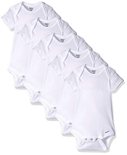 Gerber Baby 5-pack Or 15 Multi Size Organic Short Sleeve Onesies Bodysuits infant and toddler bodysuits, White 5 Pack, 0…