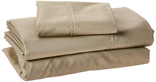 Linenspa 600 Thread Count Ultra Soft, Deep Pocket Cotton Blend Sheet Set - Twin - Sand