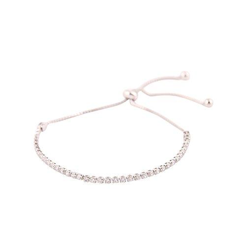 - rayley Sterling Silver Bezel Set Cubic Zirconia Adjustable Bracelet (Silver)