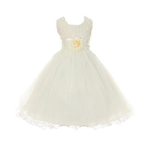 Shanil Big Girls Ivory Tulle Organza Rosette Bodice Flower Girl Dress 12 from Shanil Inc.