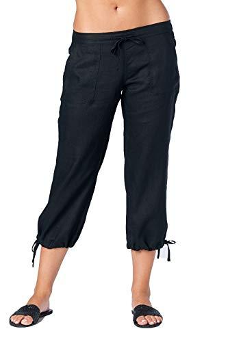 Mariyaab Women's Wide Leg Casual 100% Linen Capri Pants with Drawstring and Leg tie (1411, Black, 8) -