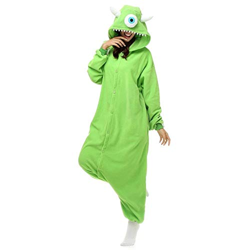 Lazutom Unisex Adult Cute Animal Cosplay Costume One Piece Pajamas Onesie Jumpsuit for Carnival or Halloween (Mike Wazowski, XL) ()