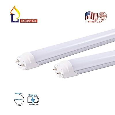 JLLEAD T8 LED Emergency Tube Light 4 Foot 18W White dalight 6500k G13 Base LED Bulbs Lights Emergency Lamp Battery Built-in Ballast Bypass 4FT Fluorescent Tube Light Replacement