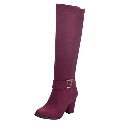 Western Red Womens Nubuck Boots High Heel Block Shine Show Knee Wine Charm AwxPOFqF