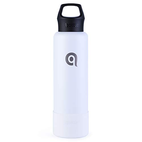 QOTT qottle 24 oz Insulated Water Bottle - Double Wall Vacuum Metal Stainless Steel Water Bottle with BPA Free Upgraded Cap, Large Travel Flask for Hot Coffee or Cold Tea with Sleeve Boot, White