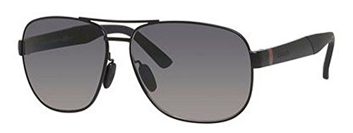 Gucci Sunglasses - 2260 F / Frame: Semi Matte Black Lens: Gray Gradient - Black Matte Aviator Sunglasses Gucci