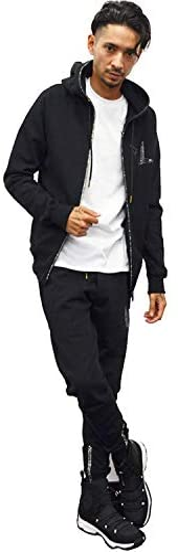 【ウノピゥウノウグァーレトレ リラックス】ラインストーンジップパーカー&ロングパンツ セットアップ【uso983-usb983】