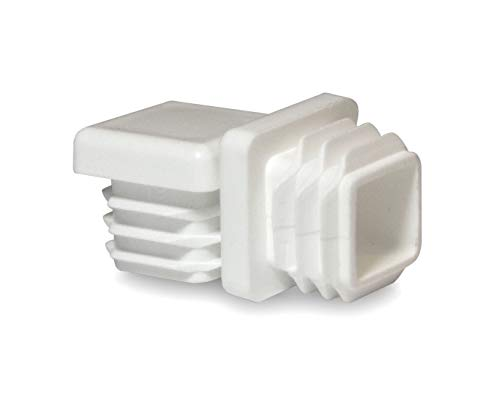 10 Pack: 3/4 inch Square Tube White Plastic Hole Plug End Cap Cover .75'' Pipe