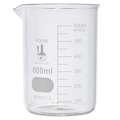 600ml Beaker, Low Form Griffin, Borosilicate 3.3 Glass, Graduated, Karter Scientific 232T2 (Pack of 6) ()