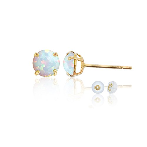 14K Yellow Gold 6mm Round Stud Earring (Light (14k Opal Jewelry Box)
