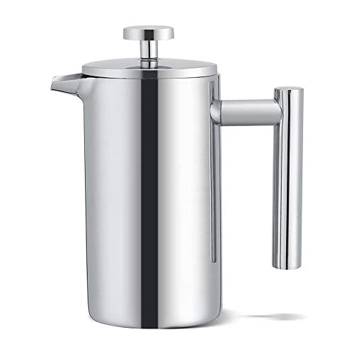 (French Press Coffee Maker,Stainless Steel Double Walled 12 oz Espresso Maker Press Tea Pot with Filter)