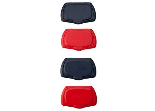 Be Bundles Snap Flip Lid, 4-Pack, Navy (2) / Red (2) - Add or Replace Your Wet Wipes Lid - Works on REFILLABLE wipes pouches and NON-REFILLABLE wipes packages! REUSABLE!