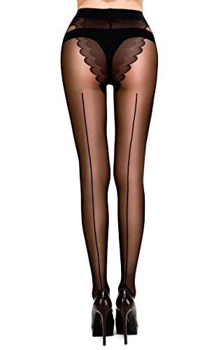 MERYLURE Sheer Back Seam Pantyhose Reinforced Crotch Tights for Women (Medium, Black)