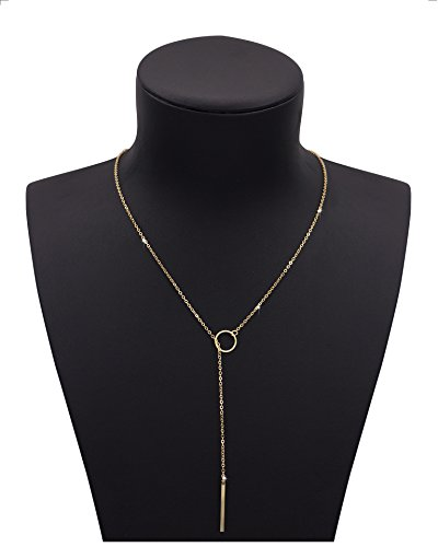 Shoopic Stick Bar Pendant Charming Ring Lariat Necklace for Women