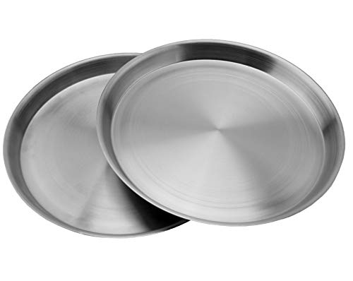 Heavy Duty Stainless Steel Plates (2-Pack); 8.3 Inch Diameter Round Metal Plates Great for Kids, Lunches, Portion Control, Camping, More by Darware