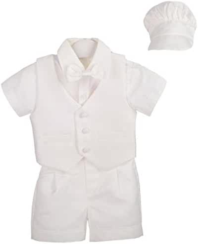 Dressy Daisy Baby Boys' 4Pcs Baptism Christening Outfit & Bonnet Wedding Suit